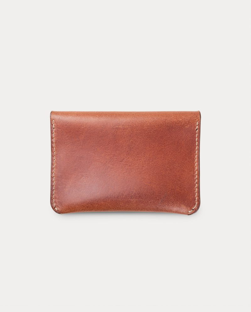 flap wallet brown for coins, cards and bills back