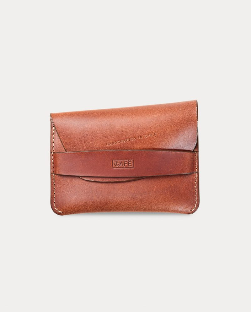 flap wallet brown for coins, cards and bills slightly open