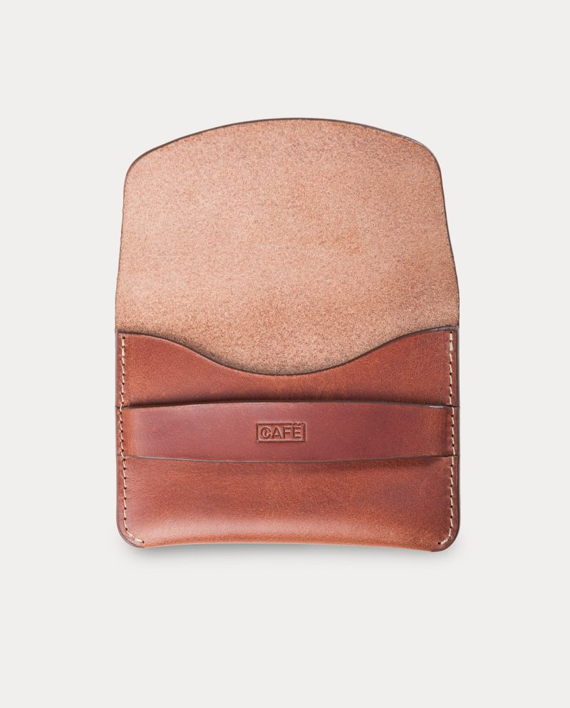 flap wallet brown for coins, cards and bills open