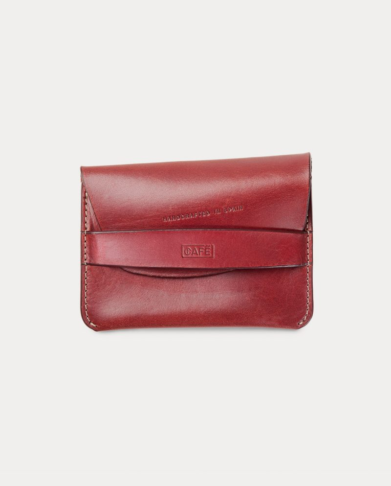 flap wallet red front slightly open