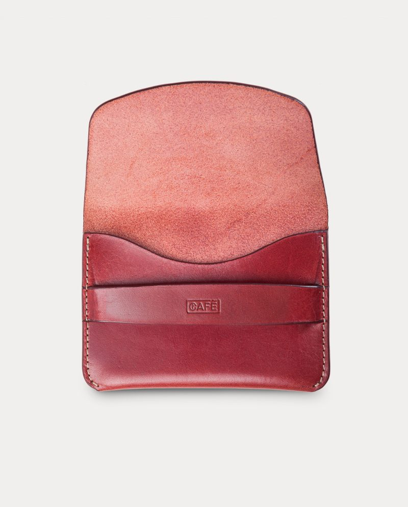 flap wallet red front open