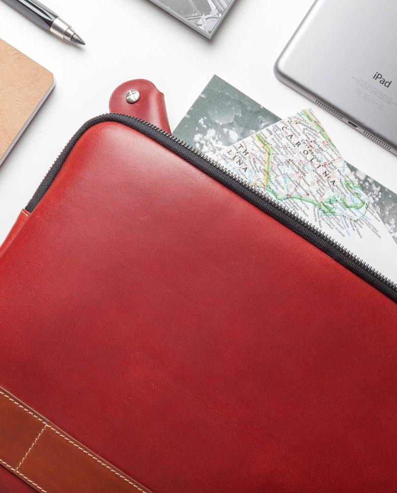 leather portfolio red detail compo