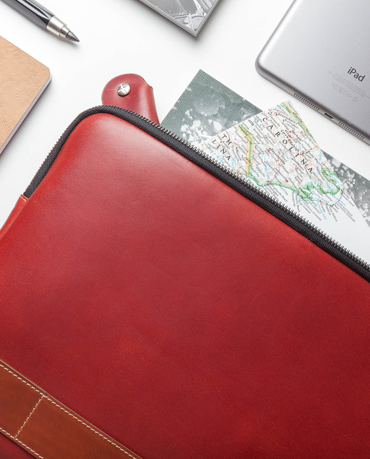 leather portfolio red for 13 inches laptop