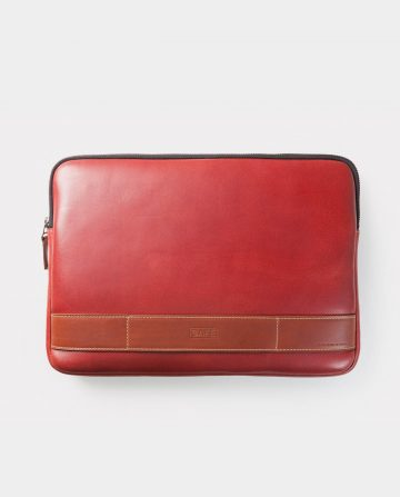 leather portfolio red front