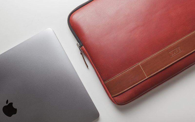 leather portfolio red laptop