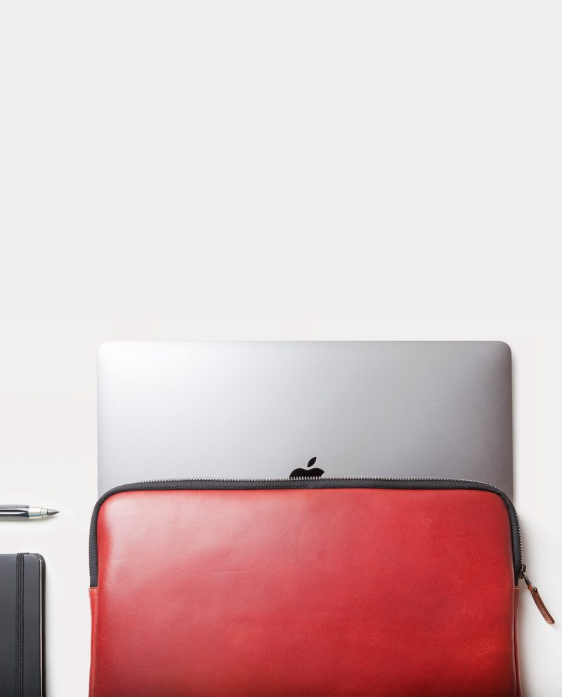 leather portfolio red laptop top