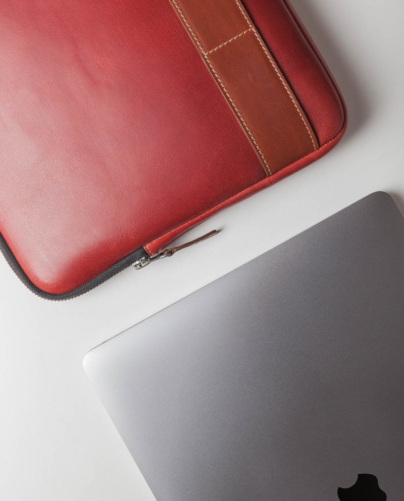 leather portfolio red side laptop