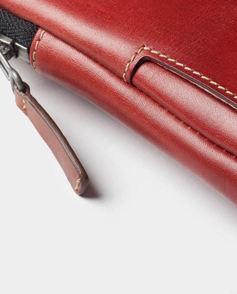 leather portfolio red zip detail