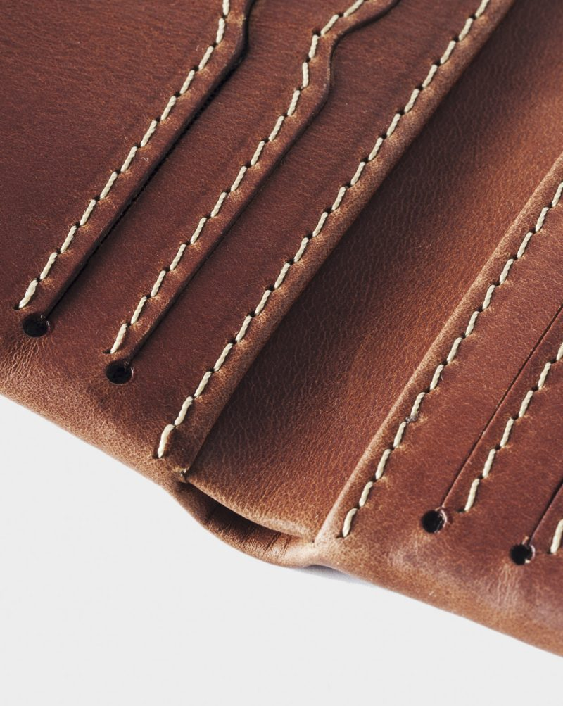 leather wallet brown detail open