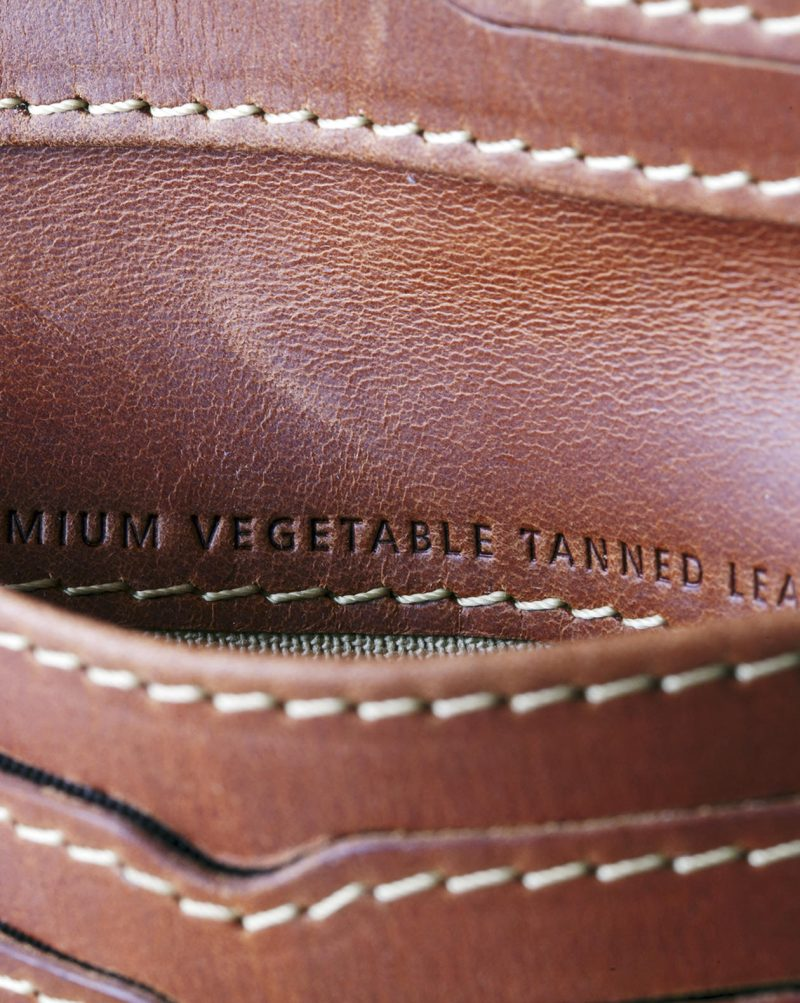 leather wallet brown open detail