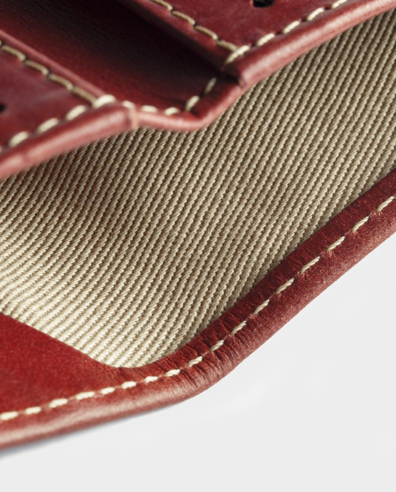 leather slim wallet red detail