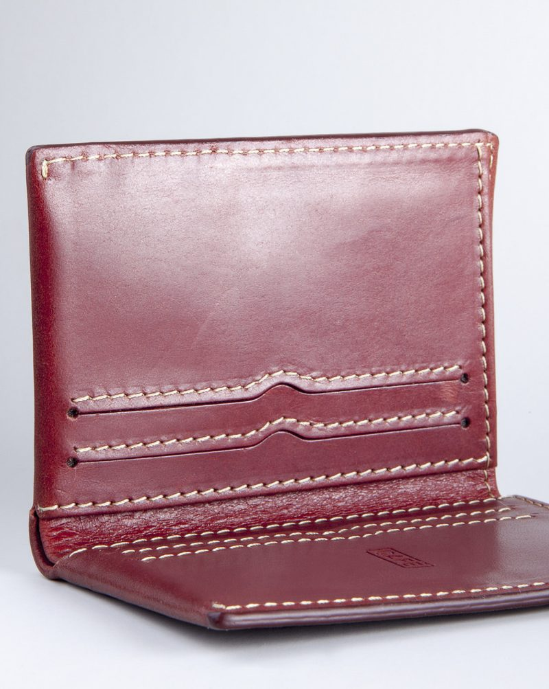 leather wallet red detail open