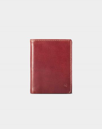 leather wallet slim red for coins and bills