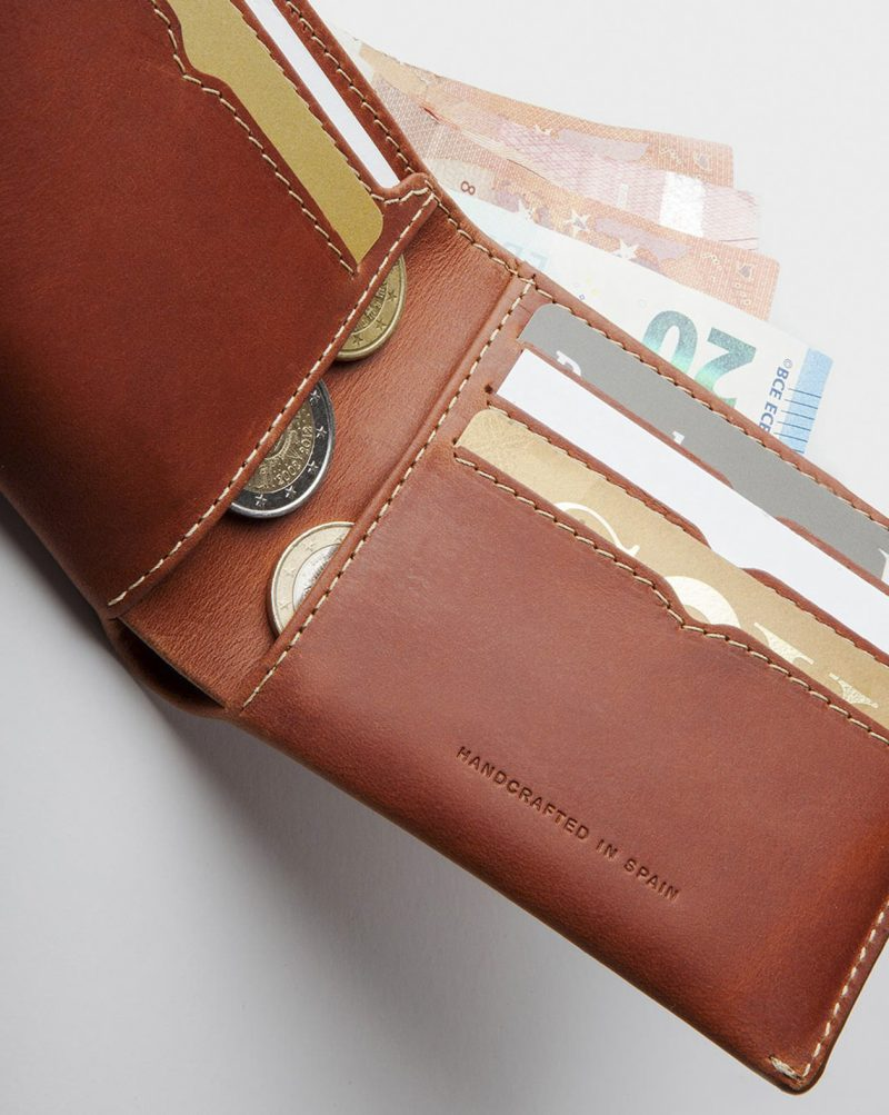 hanmade billfold open cards and coins