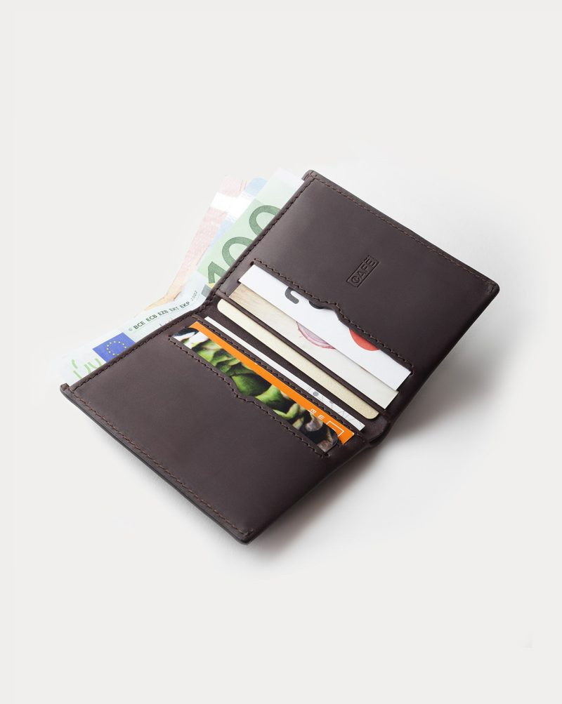 leather wallet dark brown cards