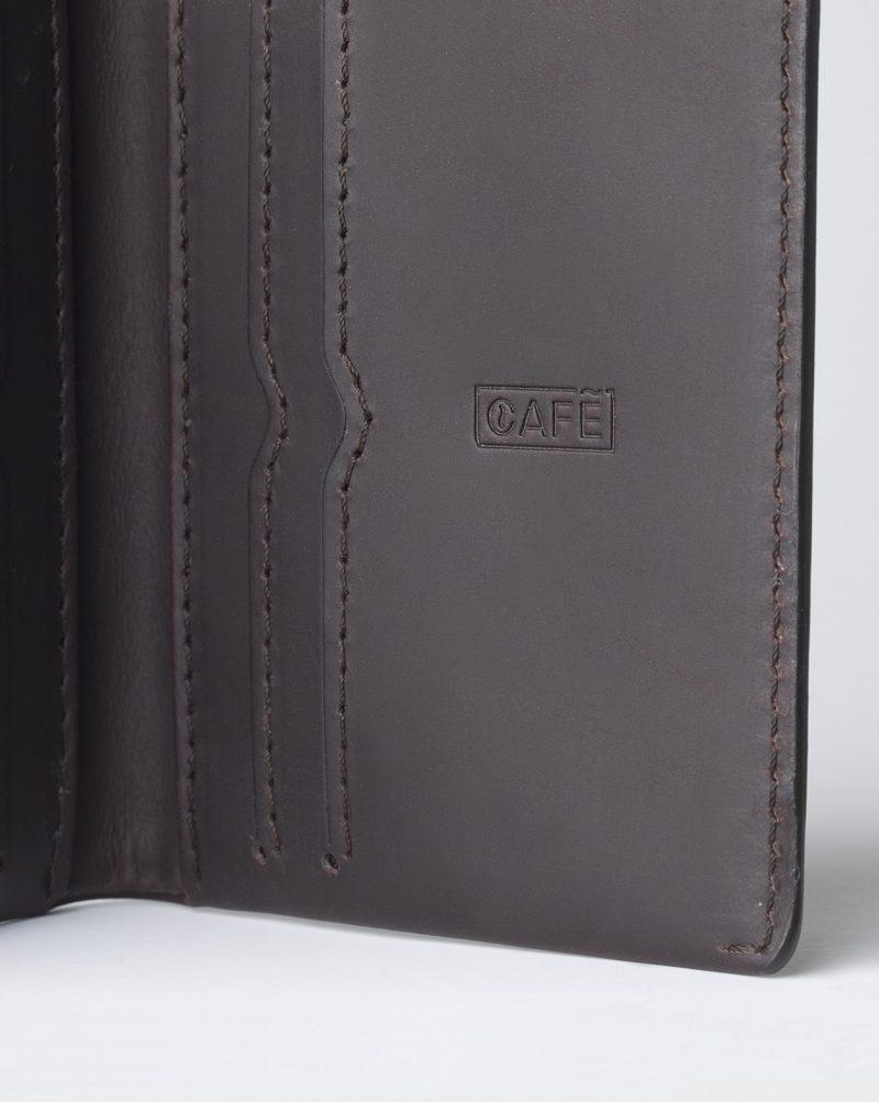 leather wallet dark brown card details