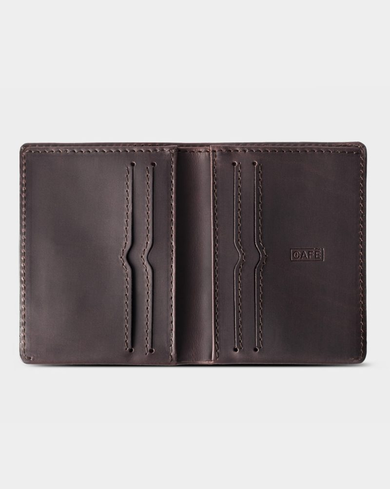 leather wallet dark brown open