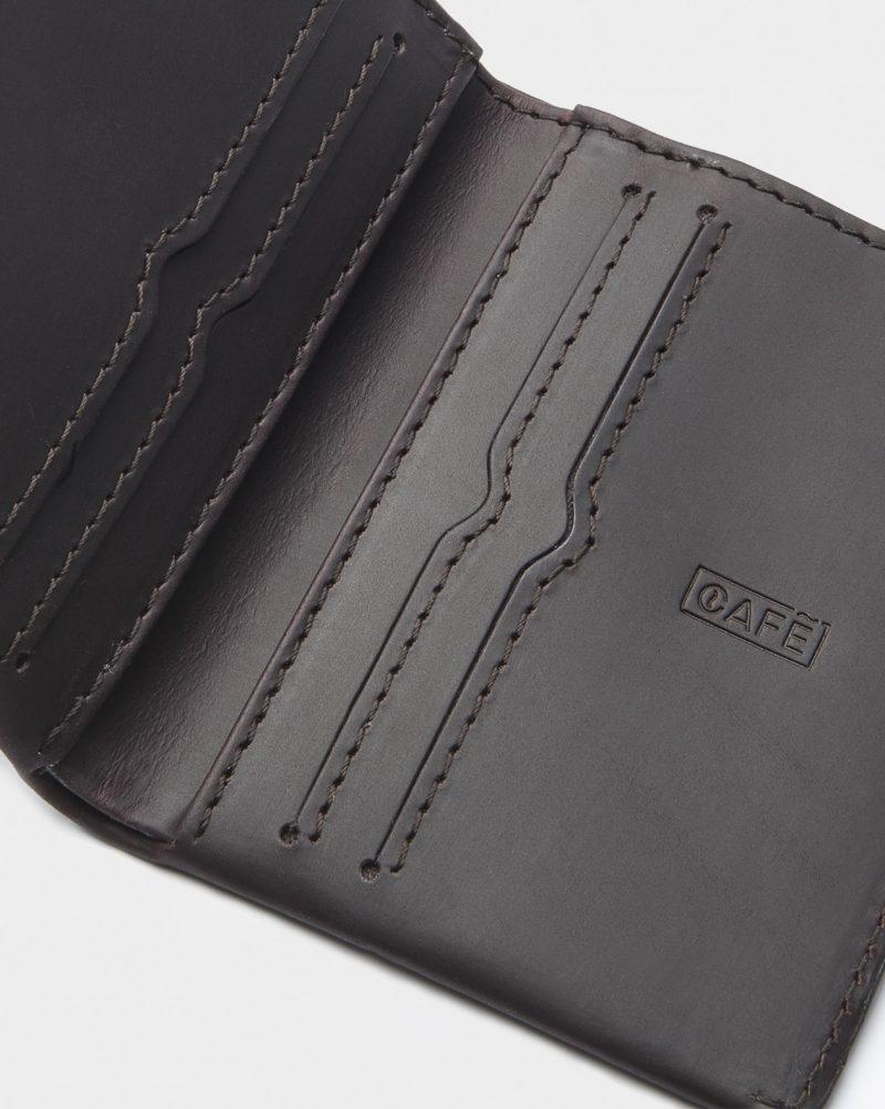 leather wallet dark brown open detail