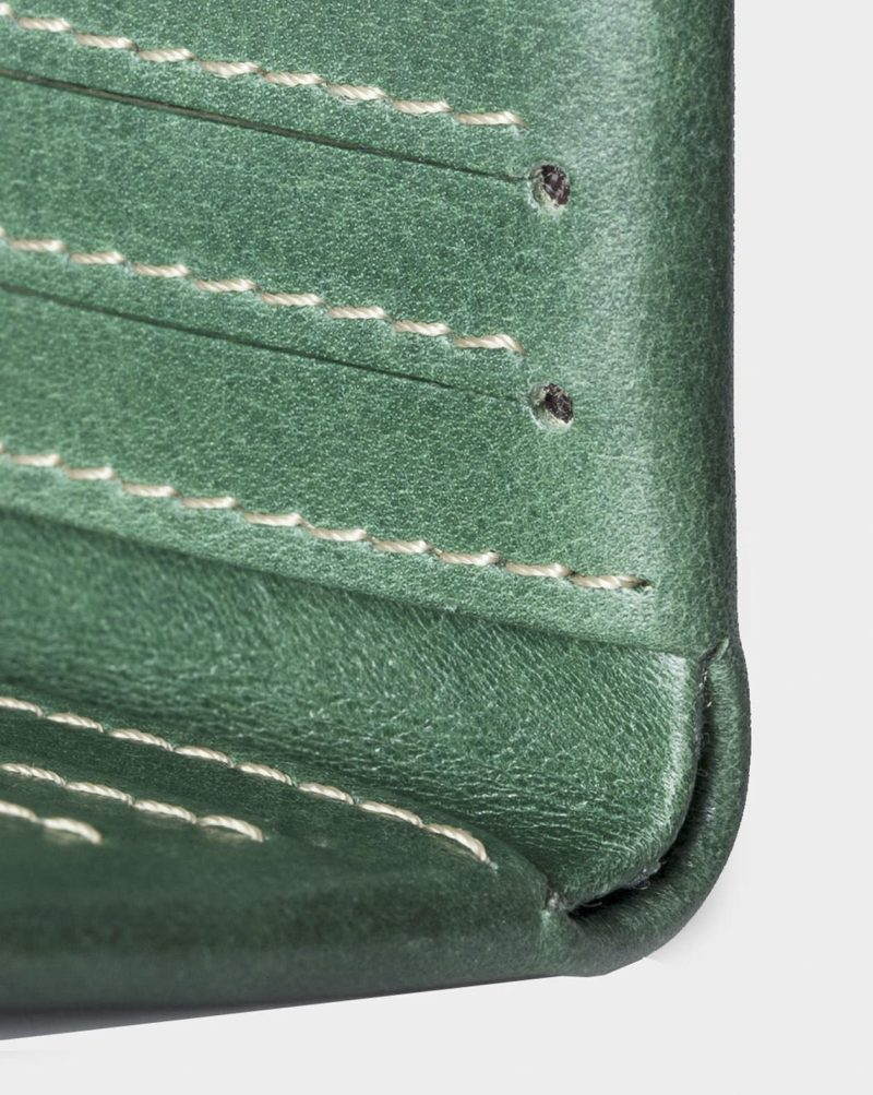 slim wallet green detail open