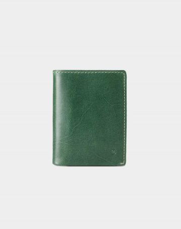 leather wallet slim green for coins and bills