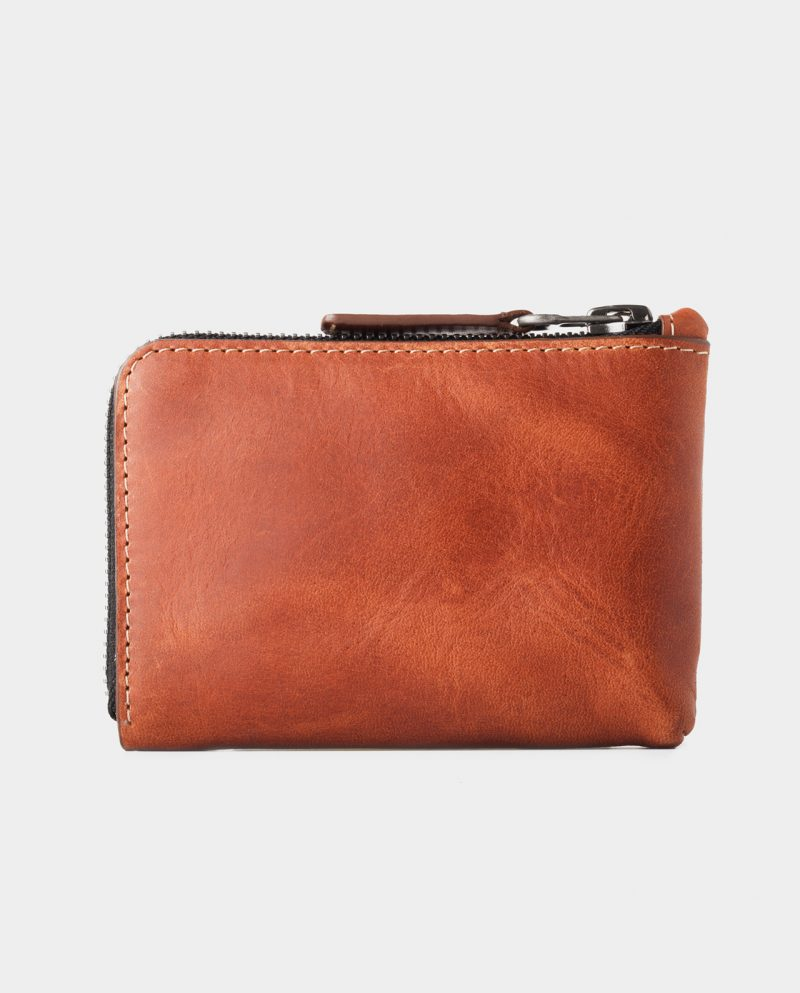 zip wallet brown front