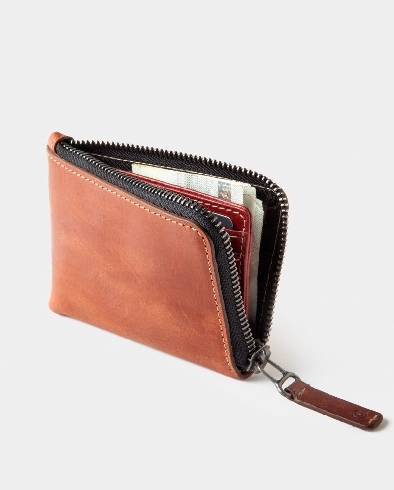 zip wallet brown open