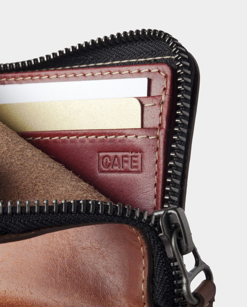 zip wallet brown open detail