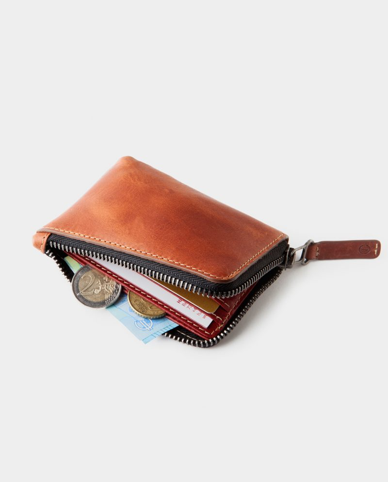 zip wallet brown open side