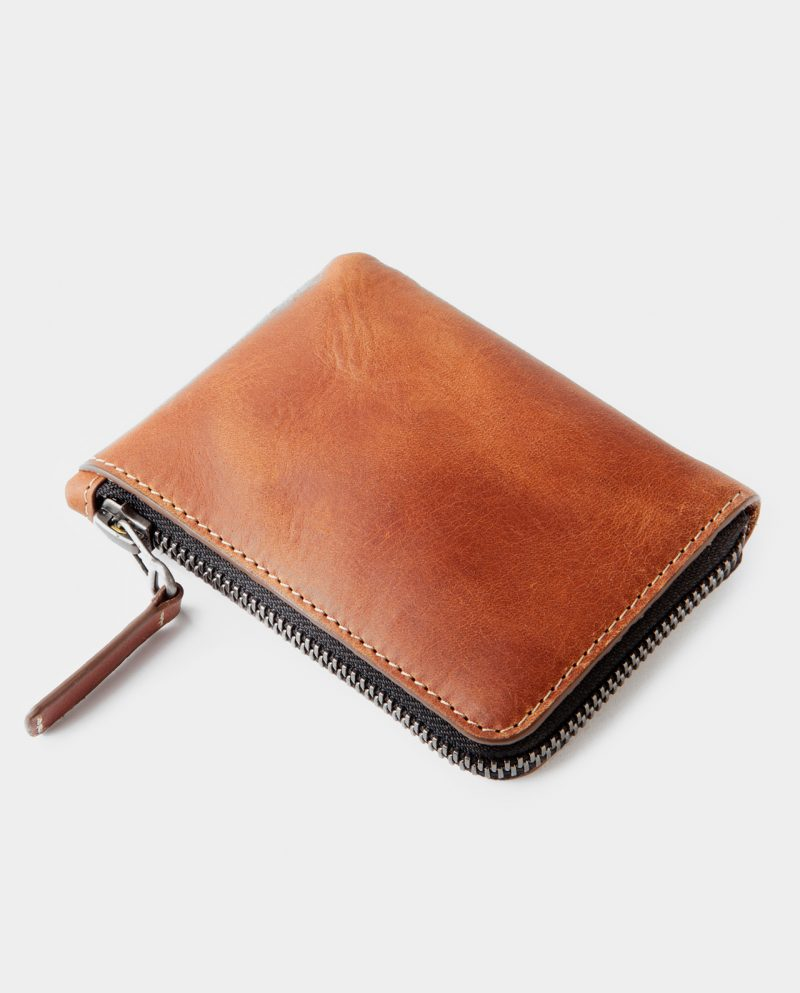 zip wallet brown side closed