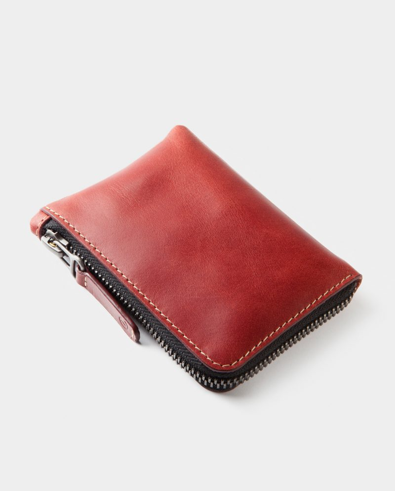 zip wallet red closed side