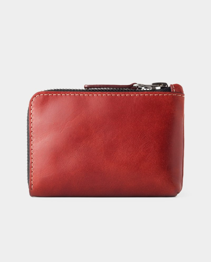 leather zip wallet red front