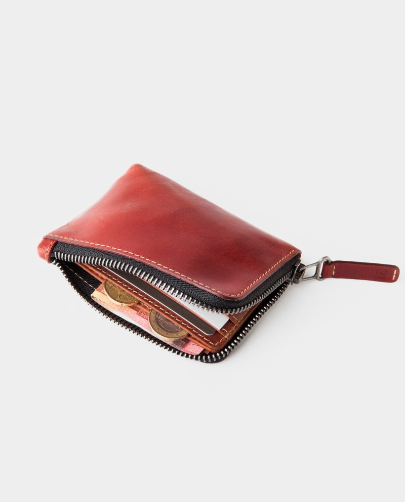 zip wallet red open