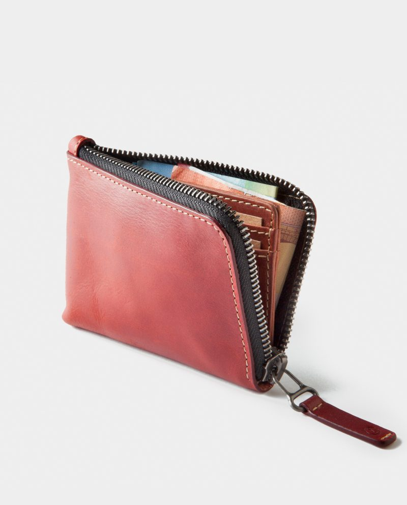 zip wallet red open front