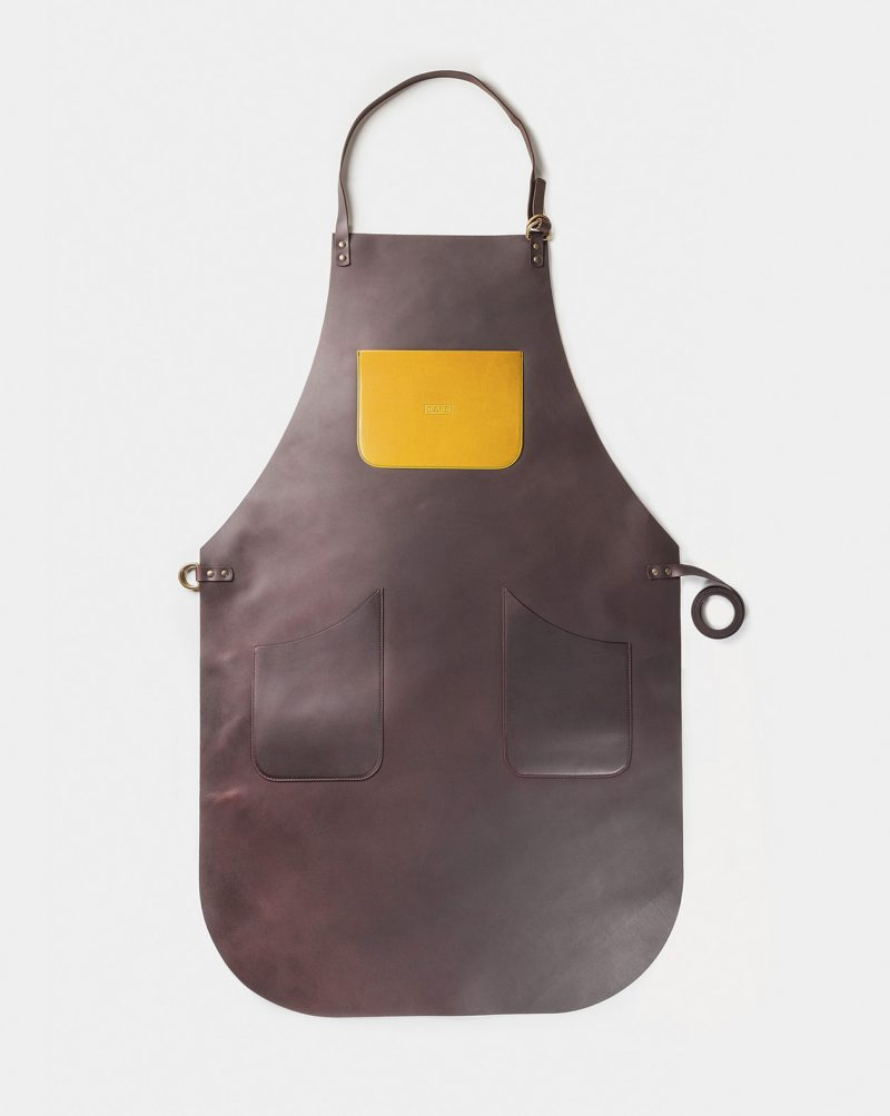 full leather black coffee apron yellow