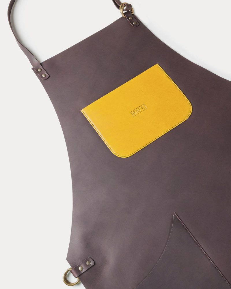 full leather black coffee apron yellow pocket