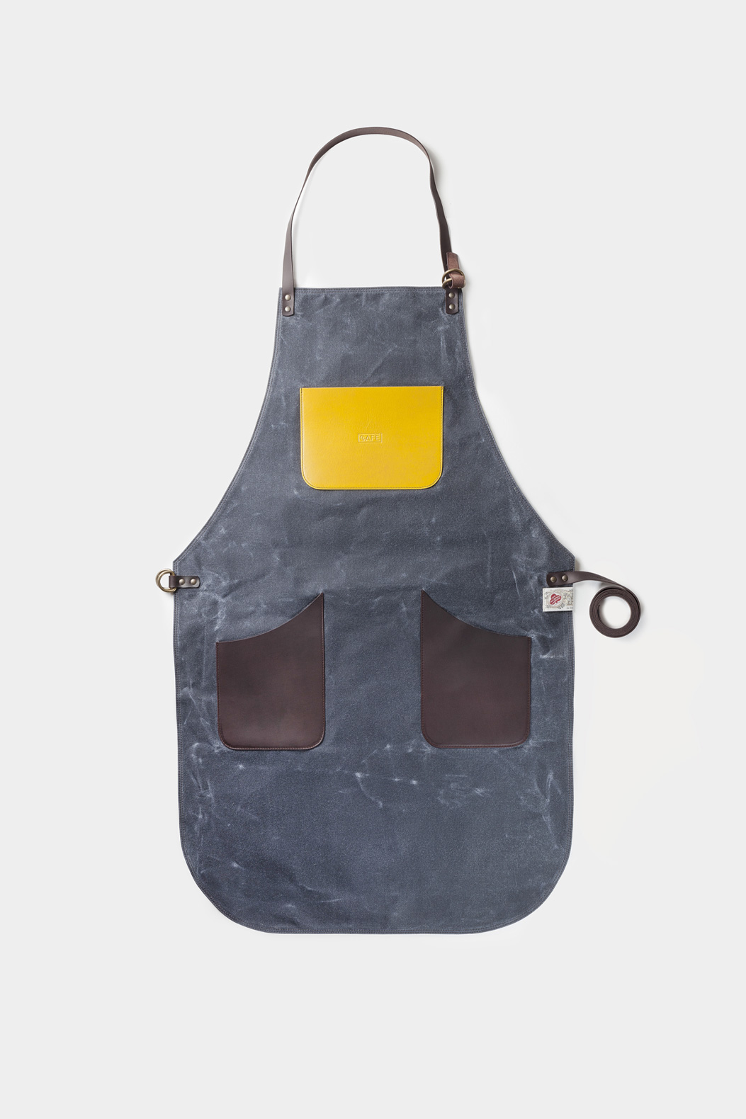 leather apron and canvas blue handcrafted in Spain