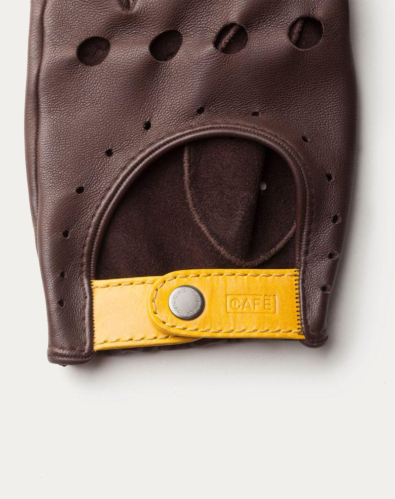 driving gloves dark brown leather detail bottom