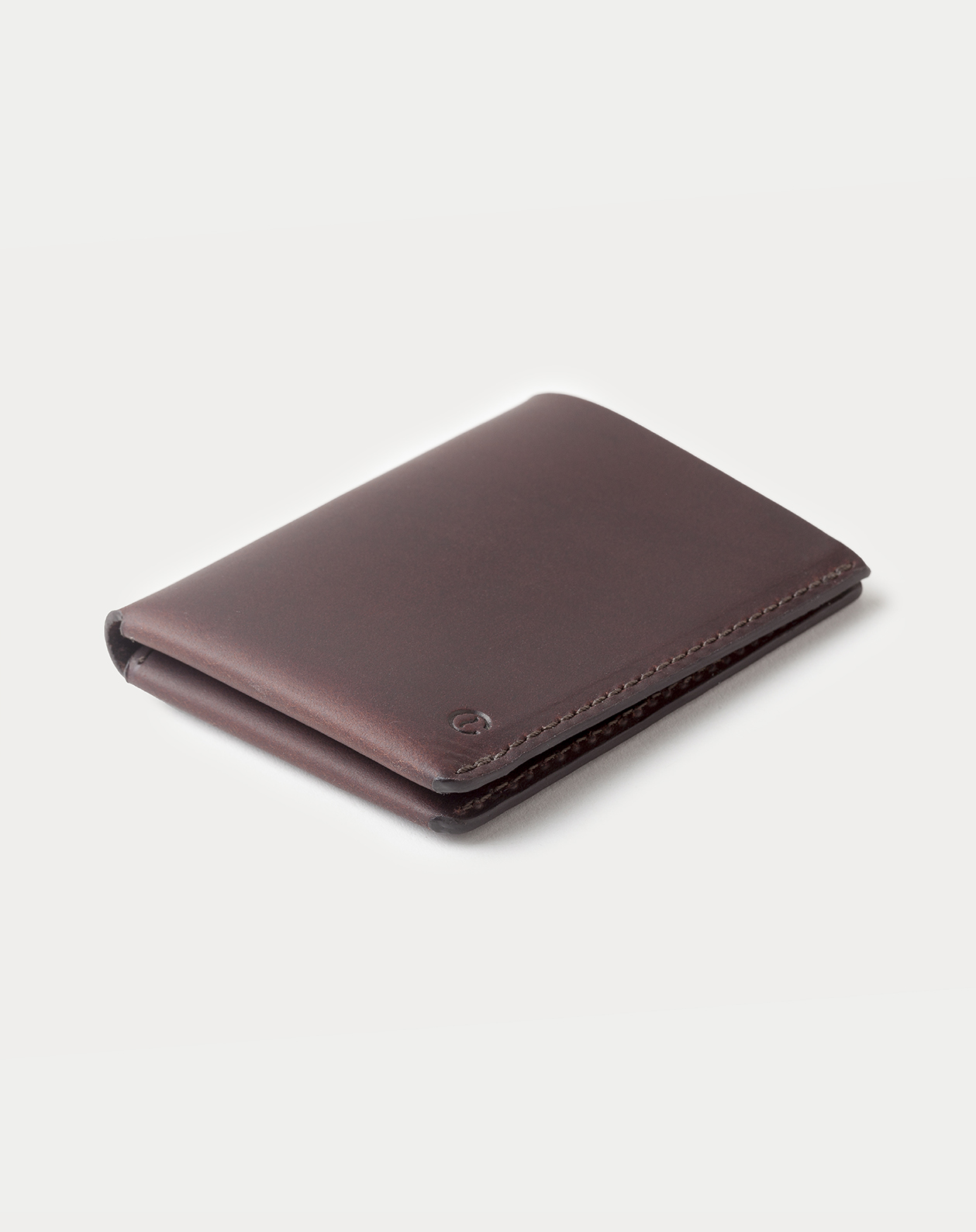 slim wallet dark brown closed