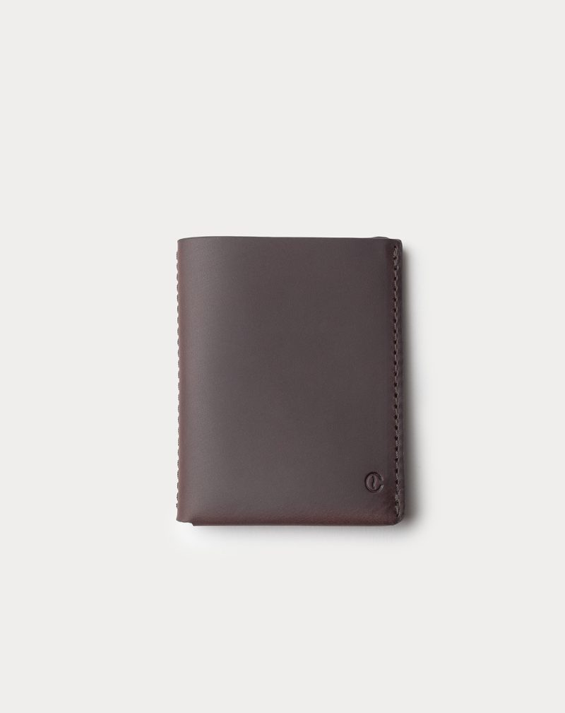slim wallet dark brown front