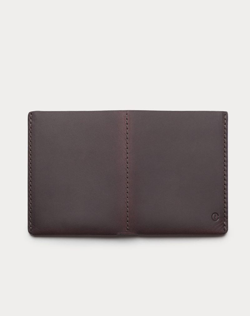 slim wallet dark brown open back