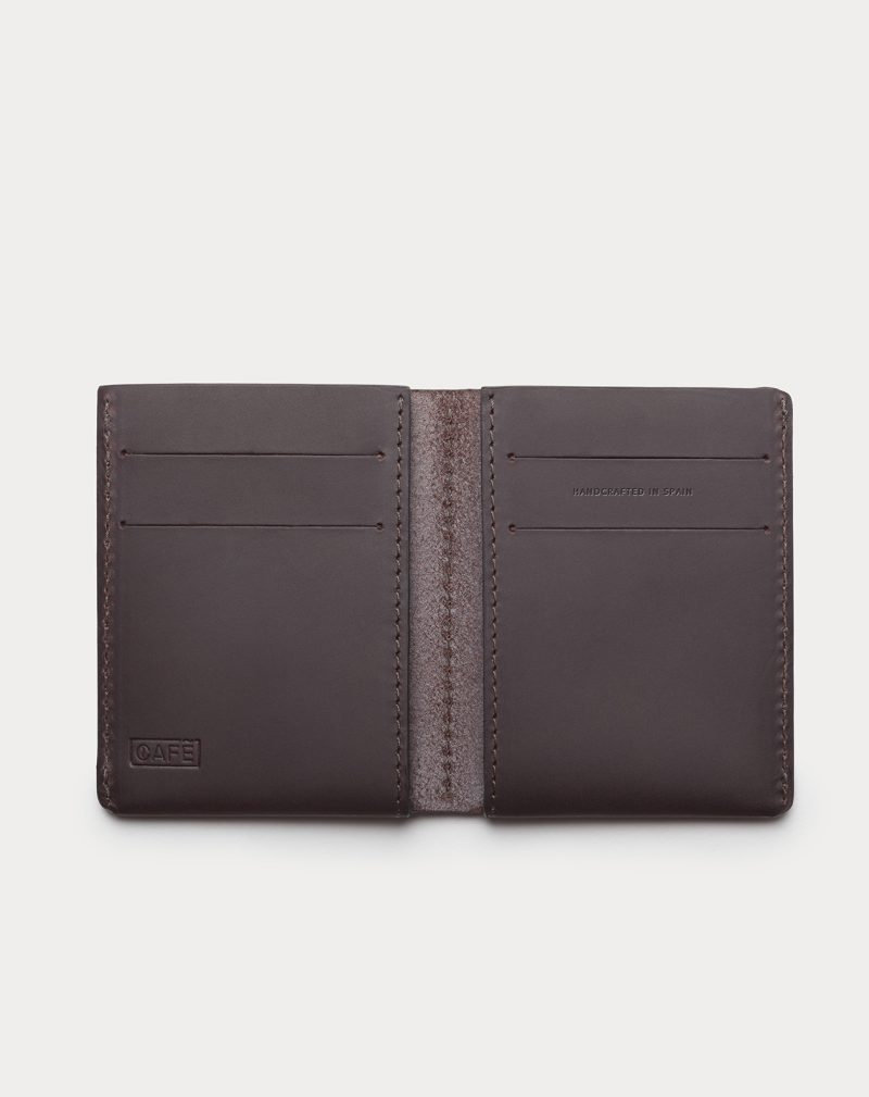 slim wallet dark brown open