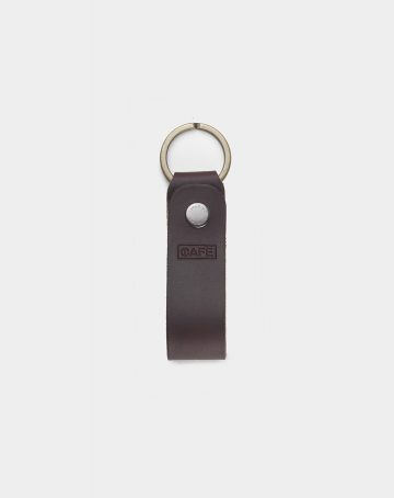 keychain leather black front