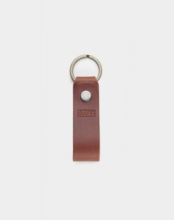 keychain leather brown front