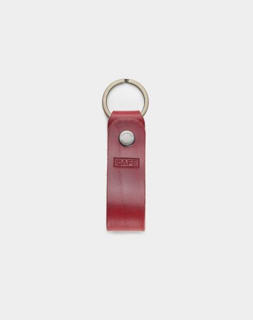 keychain leather red front