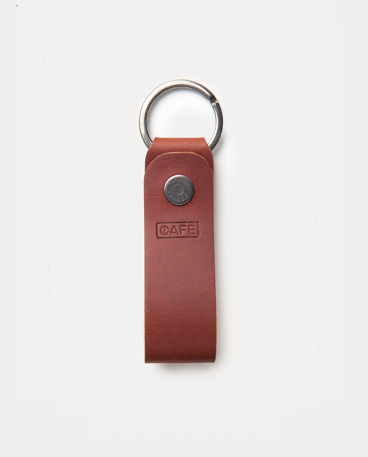 leather keychain brown handcrafted in Spain