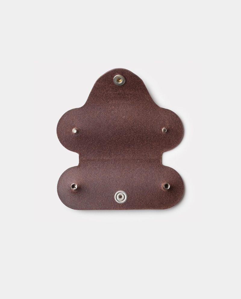 leather key case dark brown open inside