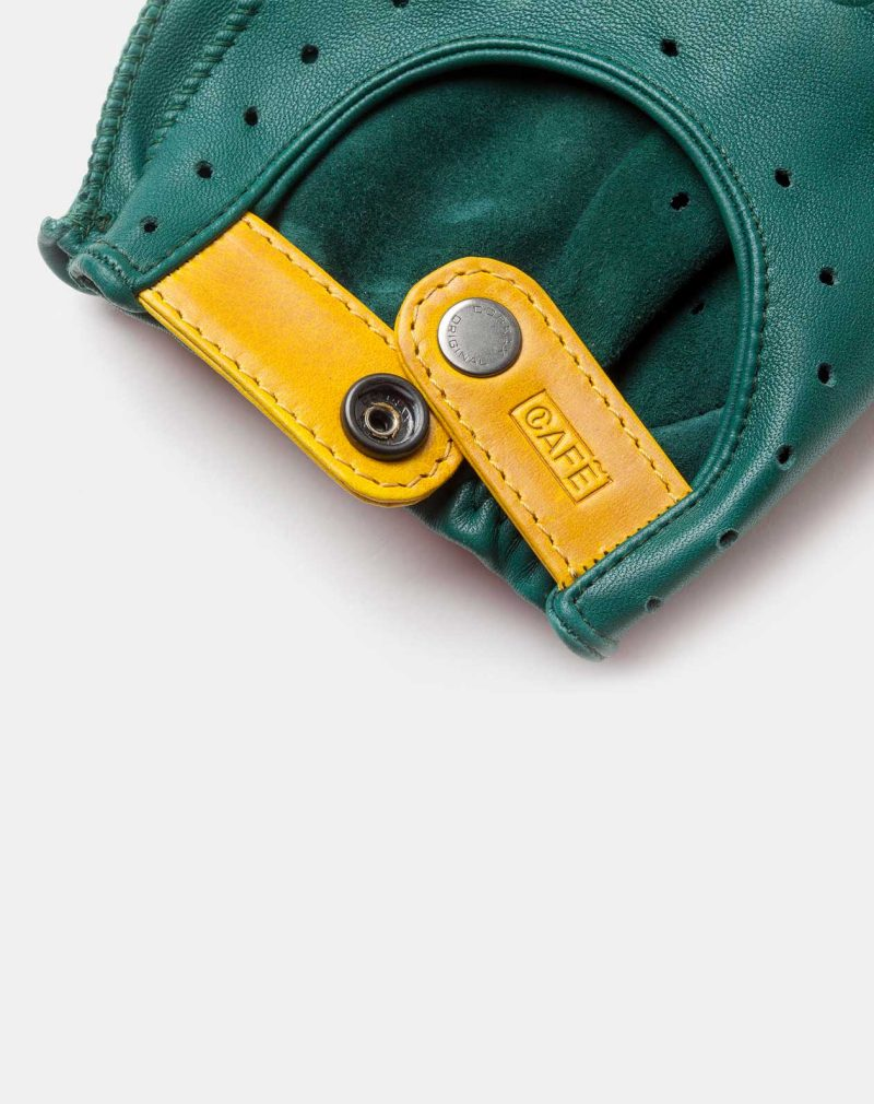 driving gloves green leather wrist detail