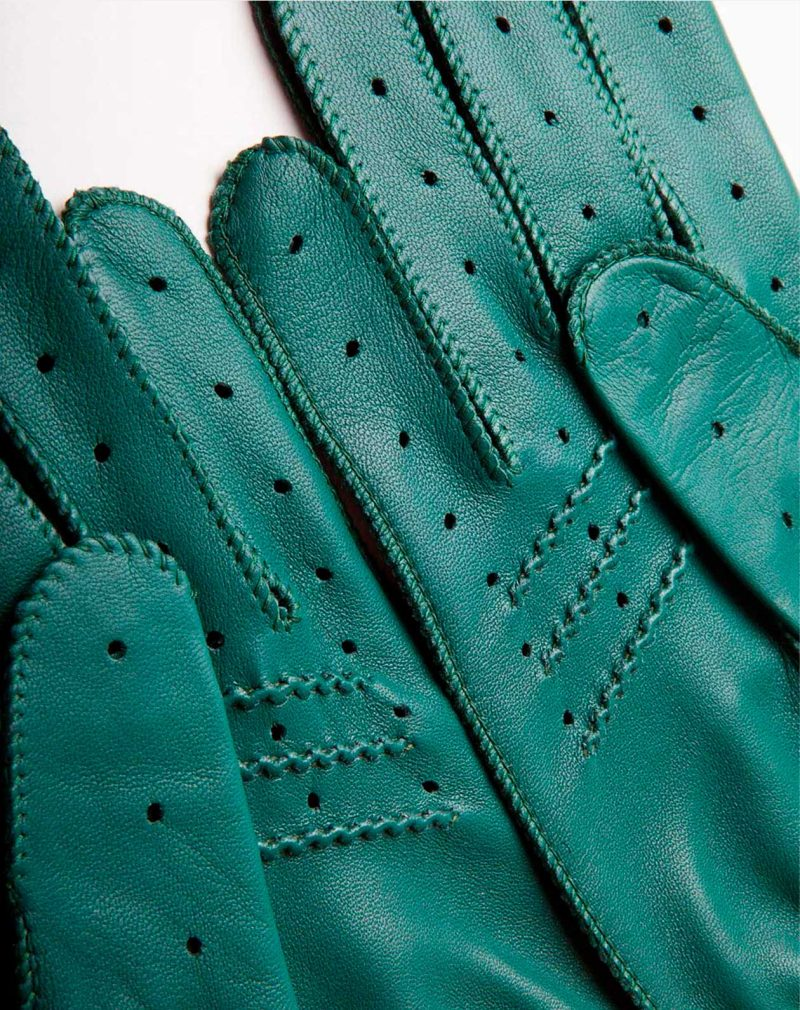 driving gloves green leather palm detail