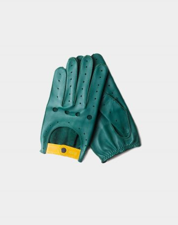 driving gloves green leather