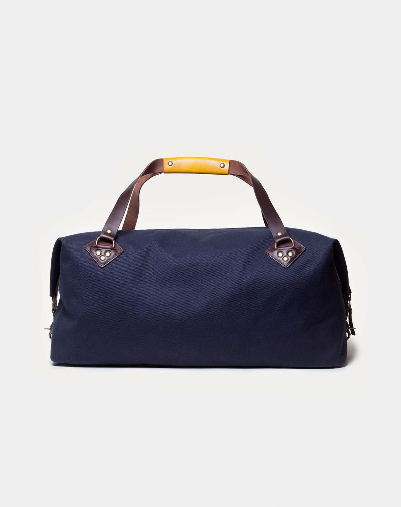 waxed canvas weekender navy back